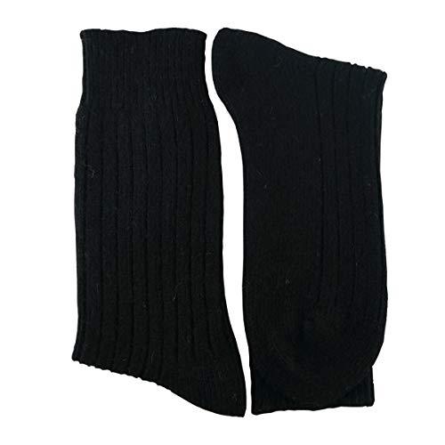 YUN Men's Natural Pure 100% Wool Traditional Crew Warmer Boot Winter Socks (Black, 3)