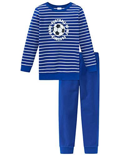 Schiesser Jungen Fußball Kn Anzug lang Zweiteiliger Schlafanzug, Blau (Blau 800), (Herstellergröße: 104)
