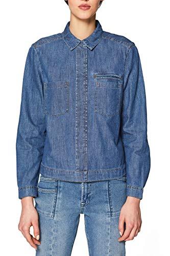 edc by ESPRIT Damen 019CC1F007 Bluse, 420/GREY Blue, Small (Herstellergröße: S)