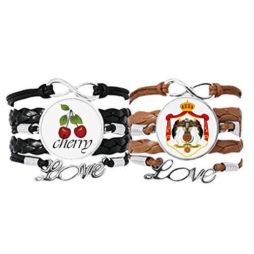 Bestchong Jordan Asia National Emblema pulsera correa de mano cuerda de cuero cereza amor pulsera doble juego