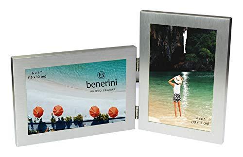 benerini Rasoato Alluminio Spazzolato Colore Argento 2 Foto Regalo Foto Pieghevole Cornice - 2 Foto di 10 X 15 Cm - (1 Paesaggio E 1 Verticale)