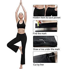 Ginasy Bootcut Yoga Pants with Pockets for Women High Waist Workout Bootleg Flare Work Pants Tummy Control with Inner Pocket Pants Charcoal