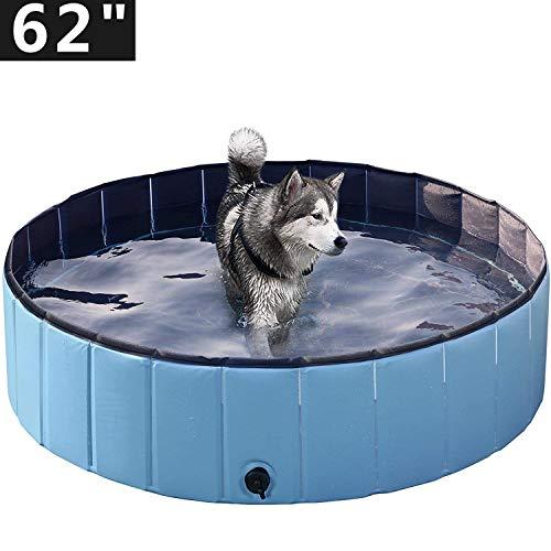 CCFCF Faltbarer Hundepool, Haustier Faltbarer Swimmingpool, Planschbecken Hundebadewanne Swimmingpool für Hunde, Wasserteich Pool Kinderbecken zum Haustiere,Blau,L/48 * 12IN