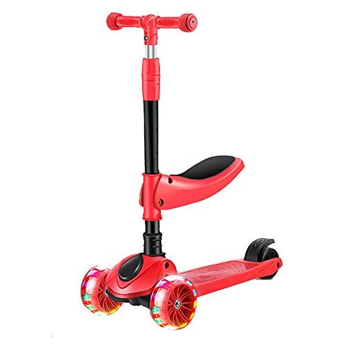 JIANGCJ Patinete 2 en 1 para niños, con tres ruedas con luz de poliuretano extra ancha, tabla ajustable y freno de rueda trasera, para niños de 2 a 12 años, color rojo