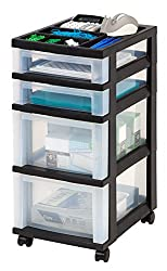 black rolling cart with clear drawers