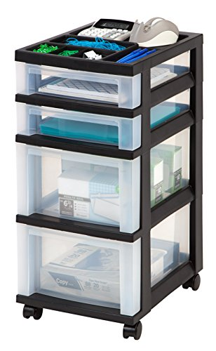 IRIS USA, Inc. Mediano 10-Drawer Carro con Organizador Parte Superior, Negro, 1 Unidad, Negro, 4-Drawer, 1