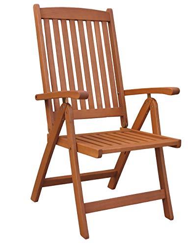GRASEKAMP Qualität seit 1972 10289 GraseKAMP-Sedia pieghevole Santos, in legno di eucalite, colore naturale, marrone, L x B x H 57 x 60 x 109 cm
