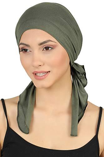 Deresina Bandana für Haarverlust aus Baumwolle, im Voraus gebunden (Khaki)