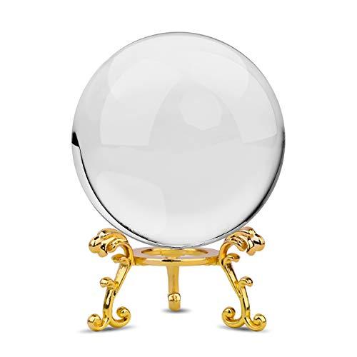 MerryNine マジック クリスタルボール 60mm 白水晶玉 ゴールドメタル台座付き 拭き取り布 風水グッズ インテリア 置く物 女性向け クリスマス 新年 プレゼント (白+ゴールド金属ベース)