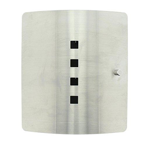 BURG-WÄCHTER Schlüsselbox mit 10 Haken und magnetischem Verschluss, Schlüsselkasten Quad 6204/10 Ni, Edelstahl/Stahlblech, Silber/Schwarz