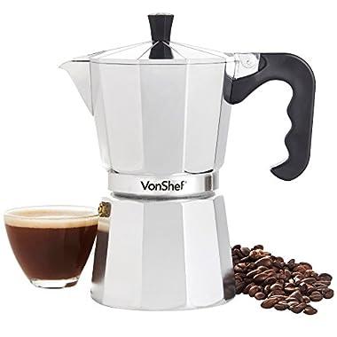 VonShef Stovetop Aluminium Espresso Maker Moka Pot, Chrome, 6 Cup