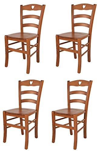 t m c s Tommychairs - Set 4 sillas Cuore para Cocina y Comedor, Estructura en Madera de Haya Color Cerezo y Asiento en Madera