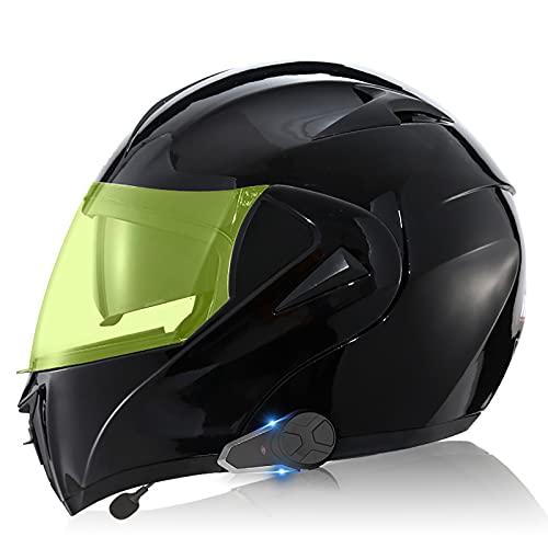 Casco Bluetooth para motocicleta, Casco modular Bluetooth con lente luminosa, Certificación DOT/ECE, Intercomunicador 1000M, Música FM, Sistema de comunicación Last Dialwang 2,S=55-56CM