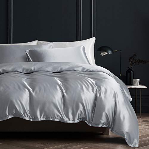 Boqingzhu Satin Bettwäsche 135x200cm Grau Uni Glatt Glänzend Glanzsatin Bettwäsche Set Bettbezug mit Reißverschluss und Kissenbezug 80x80cm