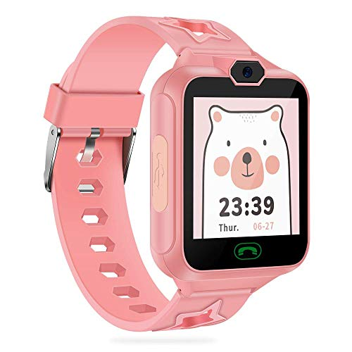 AGPTEK Smartwatch Bambini 8 in 1 Orologio Intelligente per Bambini con Le funzioni Come Telefonie Fotocamera Mini Giocatore Lettore Musicale Registratore Vocale Sveglia Calcolatrice, Rosa