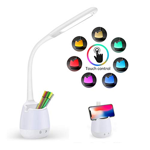 Kinder Schreibtischlampe,KKUYI Led Schreibtischlampe Augenschutz Leselampe Nachttischlampe mit Stifthalter Schwanenhals, Touch Control, 3 Helligkeitsstufen Dimmbar und 8 Farbe Nachtlicht,USB-Anschluss