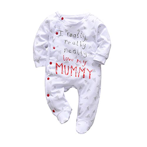 Baby Boys Girls Romper I Really Love My Daddy and Mummy Print Jumpsuit (Mommy, 0-3 Months)