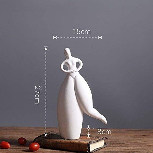 WJSW Skulptur Keramik Kreative Tänzerin Mädchen Dame Statue Wohnkultur Handwerk Raumdekoration Fett Schönheit Ornament Porzellanfigur Geschenke, weiß