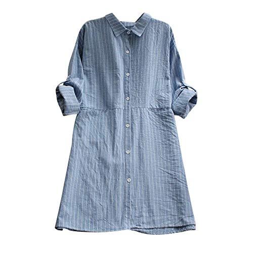 VEMOW Herbst Frühling Sommer Elegante Damen Frauen Stehkragen Langarm Casual Täglichen Party Strand Urlaub Lose Tunika Tops T-Shirt Bluse(Z3-Blau, 40 DE/M CN)