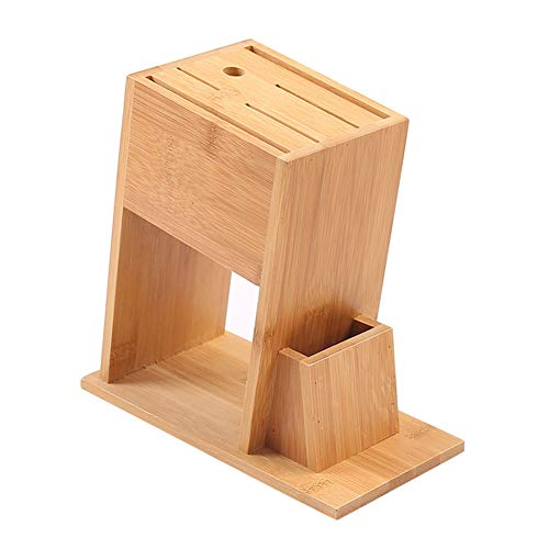 HomDSim Bloc de couteaux en bambou pour la maison Râtelier de stockage de couteau de cuisine