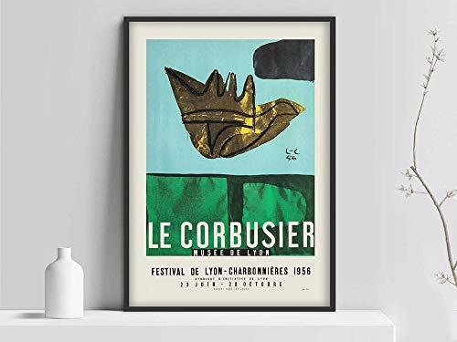 Póster de la exposición de arte Le Corbusier, Musée National d'Art Moderne grabado 1954, arte abstracto francés, lienzo sin marco E 50x75cm