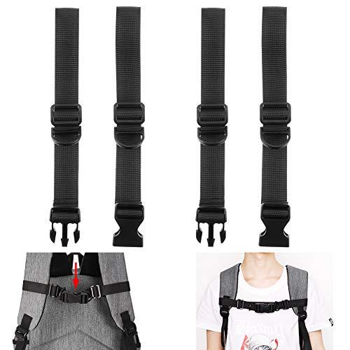 Girls'love talk 2 Stück Verstellbarer Brustgurt für Rucksack Schultasche, Strapazierfähiger Nylon Schwarz Zum Jogging und Wandern, Brustgurt
