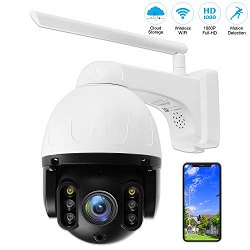 Outdoor PTZ Security Camera, 1080P WiFi Pan Tilt 4.1X Surveillance IP Weatherproof Camera with Aluminum housing, 2 Way Audio Smart Night Vision, Motion Detection, for Backyard/Office/Shop/Baby/Pet Cameras Dome