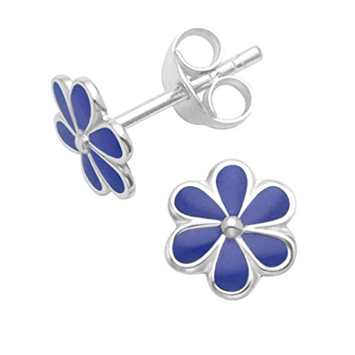 925 Sterling Silver Flower stud earrings - Size: 7mm - Royal Blue Enamel - Gift Boxed 5578DB