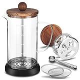 Uponer Cafetera Francesa,Cafetera Francesa de Émbolo con filtros de Repuesto vidrio de borosilicato resistente al calor (1000 ml) para el Hogar y la Oficina