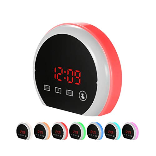 Wecker Wake Up Light Dimmable Snooze Sieben-Farben-Hintergrundbeleuchtung Touch Control Temperaturanzeige for Schlafzimmer Kinder Student Tischuhr Stilles Design
