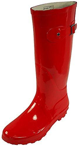 NORTY - Womens Hurricane Wellie Solid Gloss Hi-Calf Rain Boot, Red 38742-9B(M) US