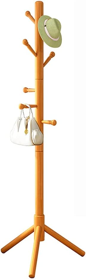 Perchero de Pie Abrigo de madera soporte soporte de sombrero de estante de pie libre de la capa de pie con 8 ganchos fáciles de ensamblar capa permanente chaquetas perchas para bolso de ropa accesorio