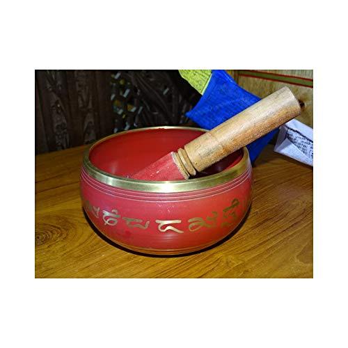 int. d'ailleurs - Cuenco Tibetano Rojo con 5 budas en el Interior (15 cm de diámetro) - BOL009