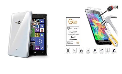 per Nokia LUMIA 625 n625 CUSTODIA COVER CASE GEL SILICONE TPU MORBIDA + PELLICOLA VETRO TEMPERATO ANTIURTO (Bianco trasparente opaco)