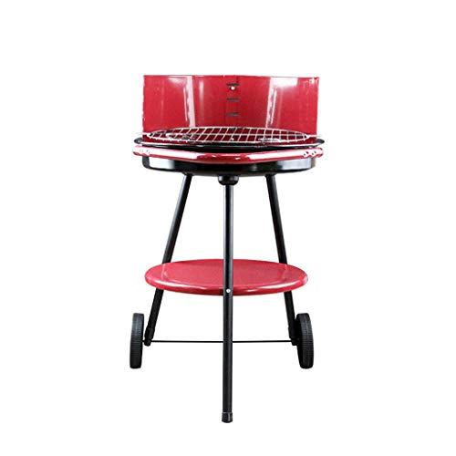 FEANG Grill de carbón, Acero Inoxidable BBQ Barbacoa al Aire Libre Barbacoa de Barbacoa Parrilla ahumada para Picnic Patio Patio Mayor Camping Cocina (Color : Red)