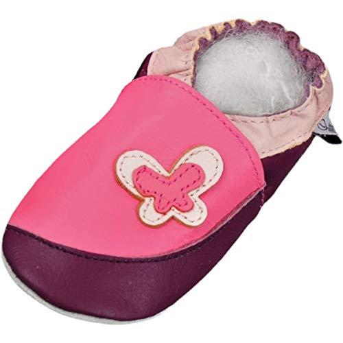 Lappade Schmetterling rosa-lila Wildleder Mädchen Lederpuschen Hausschuhe Krabbelschuhe Baby Lauflernschuhe mit Ledersohle (Gr. 28/29 EU 4XL, Art. 101)