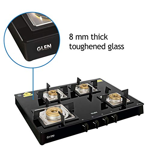 Glen SQ BL Forged Brass 4 Burner Glass Cooktop Gas Stove , Black, Manual