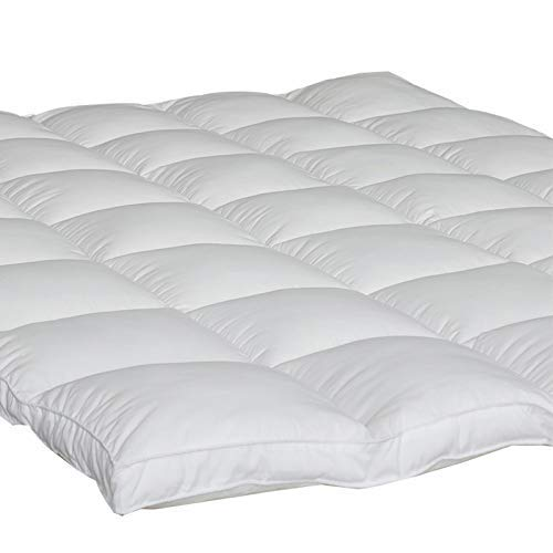 "Rohi 5ft Kingsize Mattress Topper Full Down Alternative - Box Stitched Quilted Pillow Top Mattress Pad 2"" Thick Hypoallergenic with 4 Elasticated Corner Straps, Soft and Firm, 5 Year Warranty"