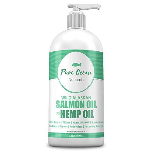 Wild Alaskan Salmon Fish & Hemp Seed Oil for Dogs 16 oz; Natural...