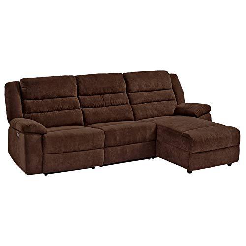 Raburg Kino- und Fernsehsofa 3-Sitzer in Nougat/BRAUN- elektrische Relaxfunktion - Wohnzimmer Couchganitur mit bequemer Liegefunktion, USB-Anschluss, Kinosofa, Ecksofa aus Mikrofaser