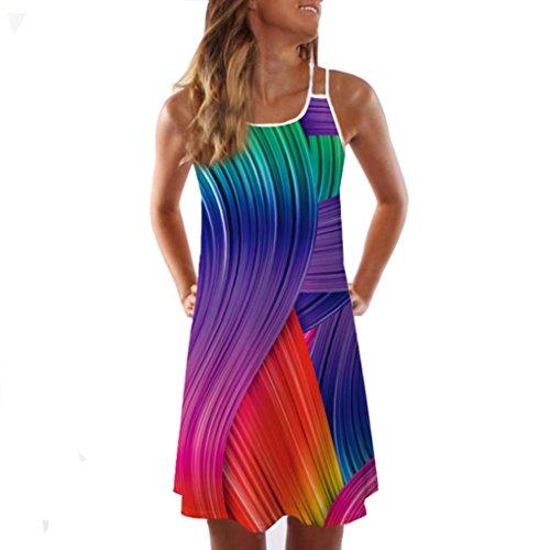 VEMOW Sommer Elegante Damen Frauen Lose Vintage Sleeveless 3D Blumendruck Bohe Casual Täglichen Party Strand Urlaub Tank Short Mini Kleid(Mehrfarbig 2, 42 DE/XL CN)