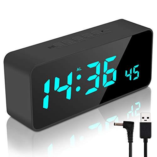 Digitaler Wecker mit App Kontrolle, LED Digitaluhr mit USB-Anschluss, Temperatur/Feuchtigkeit und 100 Farben, Spiegel Tischuhr mit 9 Alarme 8 Alarmtöne 4 Aufzeichnungen Schlummerfunkion (Schwarz)