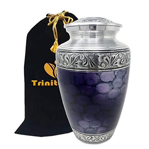 Mediterranean Mystic Blue Cremation Urn -100% Handcrafted Moonstone Blue Funeral Urn - Large Solid Metal Forever Remembered Classic Blue Urn - Affordable Urn with Free Velvet Bag (Mystic Purple Urn)