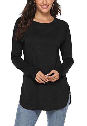 Newchoice - Camiseta de manga larga para mujer, con mangas de estilo murciélago, cuello redondo, básica, de ajuste holgado, S
