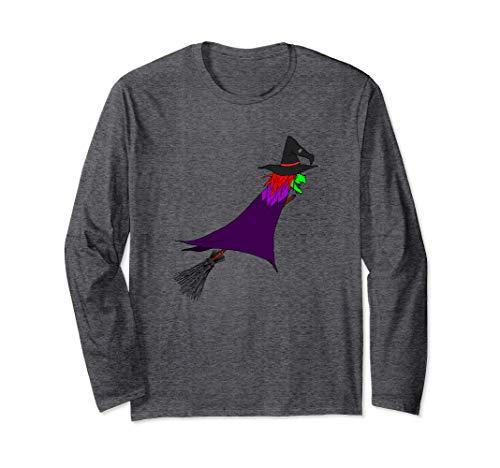 Hexe fliegt auf dem Besen   Halloween Langarmshirt