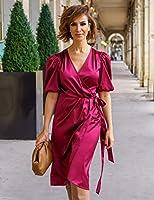 The Drop Vestido para Mujer Midi Cruzado, Borgoña, por @sabthefrenchway,S
