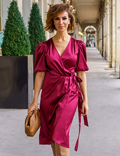 The Drop Women's Burgundy Wrap Midi Dress by @sabthefrenchway