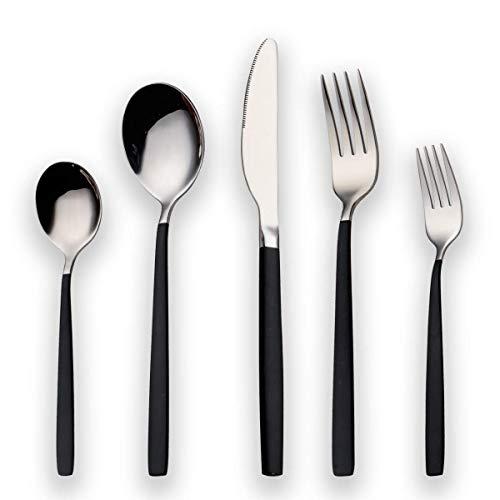Berglander 30 Stück Titan Schwarz Besteck Set, Schwarzer Griff mit Silber Mund Besteck Set, Schwarz und Silber Besteck Service für 6 (Schwarz, Silber)