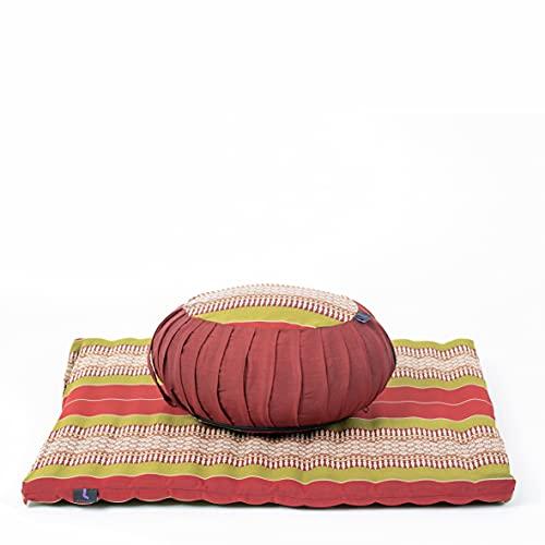 Leewadee Set de meditación con Funda – Cojín Zafu y colchoneta Zabuton de meditación y Yoga, Asiento tailandés de kapok Natural, Set de 2, Rojo Verde