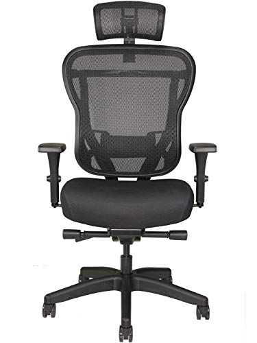 Oak Hollow Furniture Aloria Series Office Chair Ergonomic Executive Computer Chair, Fabric Soft Seat Cushion, Mesh Back, Adjustable Lumbar Support Swivel and Tilt (Black with Headrest)